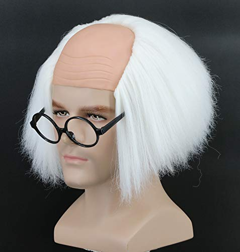 Bald Wig With Hair (Yuehong Short White Old Men Wig Fluffy Bald Head Wig Synthetic Halloween Costumes Cosplay)