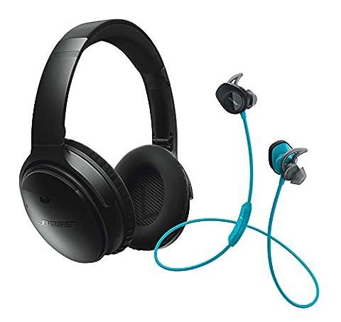 Bose QuietComfort 35 (Series I) Noise Cancelling Over-ear (Black) & SoundSport In-ear (Aqua) Wireless Bluetooth Headphone (In Ear Noise Cancelling Bose)