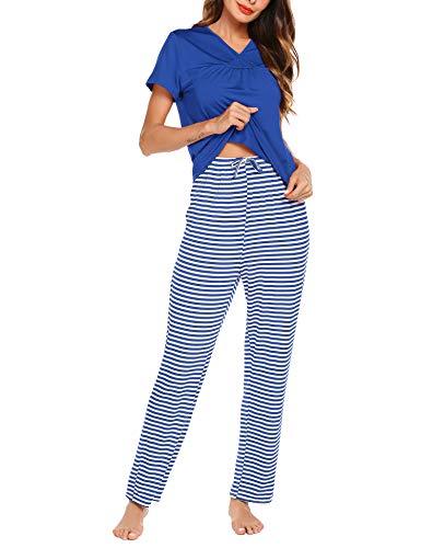 Plus Stripe Pant Set - Romanstii Women's Lightweight Stripes Pj Set Comfy Pajama Set Plus Size, Women Sleepwear Set Short Sleeve V-Neck T-Shirt with Long Pants(Blue, XXL)