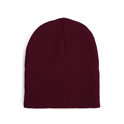 Maroon Kids Hat - Opromo Baby Beanie Cap Unisex Kids Soft Warm Toddler Daily Knit Cap, 0-4 Years-Maroon