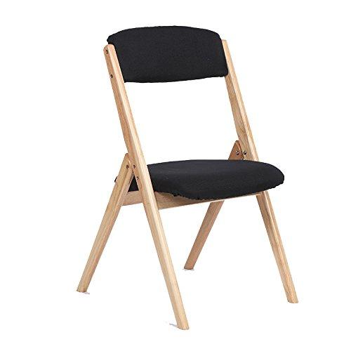 スツールソリッドウッド折り畳み式の椅子近代的なシンプルなバックチェアダイニングチェアを分解するデスクとチェアレジャーチェア (色 : ブラック) B07DB6ZRL1 ブラック ブラック