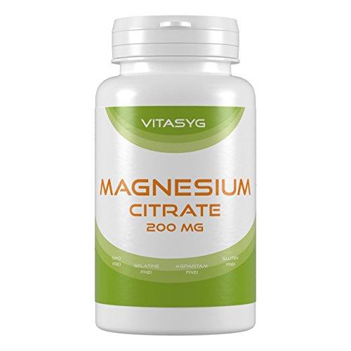 Vitasyg Magnesium Citrat 200 mg - 180 Tabletten - 6 Monatsversorgung - 200mg echtes Magnesium (aus Trimagnesiumdicitrat), 1er Pack (1 x 360 g)