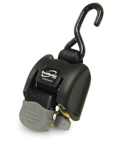 BoatBuckle G2 Retractable Transom Tie-Down (Black), 1 Pair ()