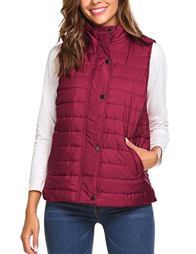 (Beyove Women's Packable Ultra Light Weight Down Outdoor Puffer Vest wine red S)