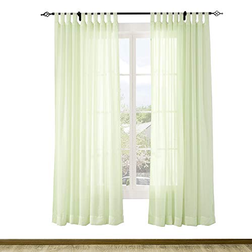 Macochico Outdoor Indoor Semi Sheer Curtains Solid Color Windproof Privacy Protection Tab Top Voile Tulle Draperies for Patio Garden Backyard Gazebo Porch Kiwi 52W x 84L (1 Panel)