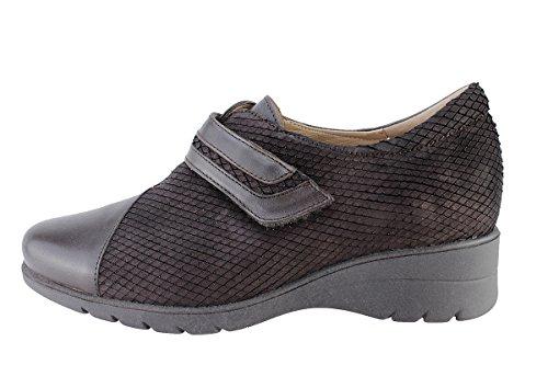 Piesanto Femme Chaussures En Cuir Confort 175962 Chaussures Velcro Large Caoba (marron)