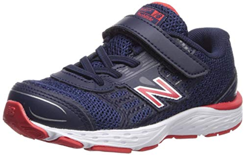 New Balance Boys' 680v5 Hook and Loop Running Shoe, Pigment/Velocity RED, 5 M US ()