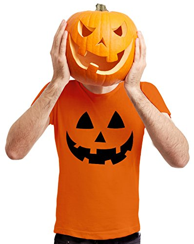 (Jack O' Lantern - Smiling Pumpkin Face - Easy Halloween Costume Fun T-Shirt Large)