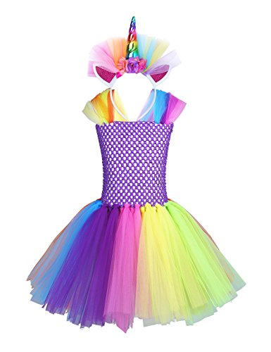 FEESHOW Kids Girls Rainbow Outfit Costumes Princess Tutu Dress with Headband Cosplay Party Fancy Dress up Clothes Purple Multi 8-10 by FEESHOW