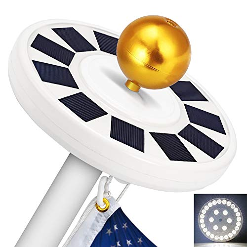 Solar Flag Pole Light, GRDE 30 LED Flag Pole Lights Solar Powered Night Light Flagpole Downlight Lighting Night Light for 15 to 25 Ft Top, Energy Saving ()