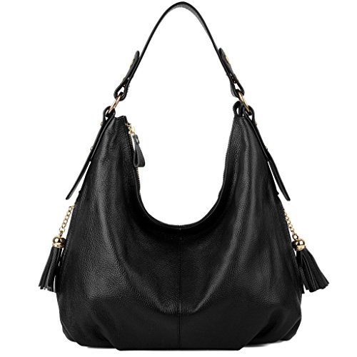 Side Black Leather Black Bags Shoulder Pocket Women's Crossbody Hobo Tassel Yaluxe Soft Large Elegant q4HFOnt