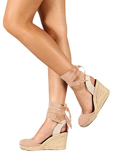 Dellytop Womens Espadrille Wedges Lace up Closed Toe Platform Sandals Cute Slingback Summer (Sexy Espadrille)