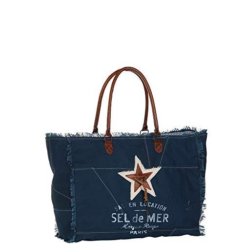 ROUGE 50x39x24cm Sac TERRE en de mer bleue Sel anses cuir XL toile 1xdHS