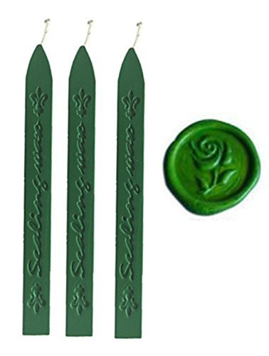 - MDLG New 3pcs Grass Green Wax Sticks with Wicks for Decorative wedding invitations wax seal Sealing stamp