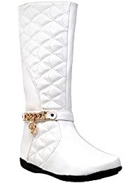 Kids Knee High Flat Boots Quilted Leather Gold Train Trim Heart Charm Riding GY-KB-ICE-06