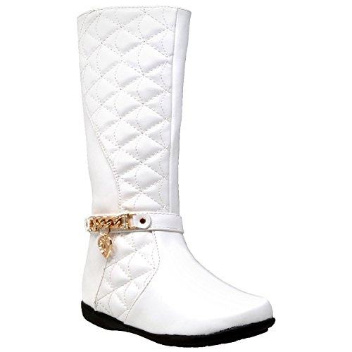 (Generation Y Kids Boots Knee High Girls Quilted Leather Gold Train Trim Heart Charm Riding Shoes White SZ 1 Youth)