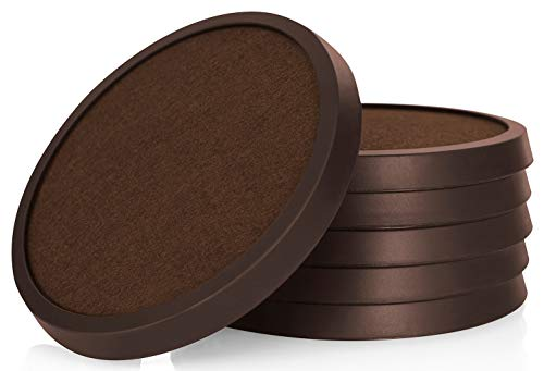 Natural Absorbent Sandstone Coasters (Comfortena Silicone Drink Coasters with Absorbent Felt | Easy-Clean 6-Piece Table Set for Glasses, Cups, and Mugs | Perfect for Tables with Wood, Marble, Glass, Slate, or Leather Surface | Rich Brown)