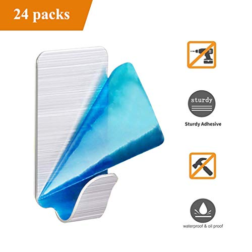 Adhesive Wall Hooks Stainless Steel - Value Pack Set of 24, Heavy Duty Sticky Towel Hooks Waterproof, Organizer for Bathroom Home Kitchen Office