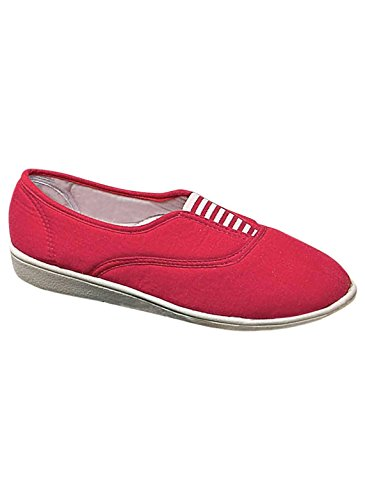 Zorgeloze Canvas-slip-ons, Rood, Maat 7-1 / 2 (breed)