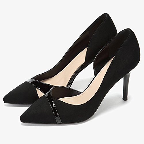 Alti Party Tacchi Tip WeddingDaphne Nero 4 da Black Hollow Sexy Lavoro Scarpe Shoes Fleece Moda 5 Donna 9cm Nightclub Lavoro UK 37 da EU ZxfnZ