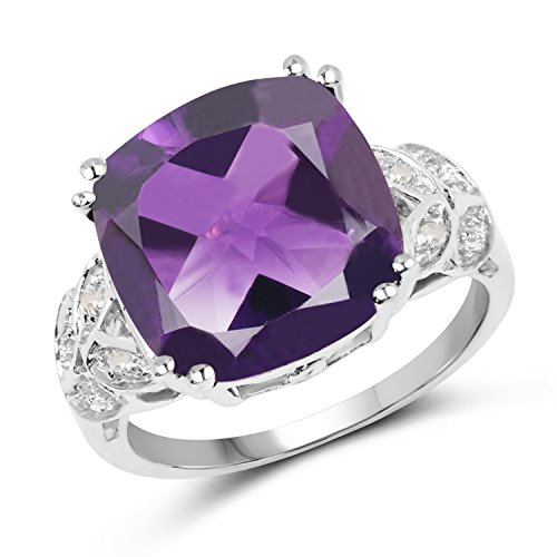Huang and Co. 5.28 Carats Genuine African Amethyst and White Topaz Cushion Cut Ring Solid .925 Sterling Silver With Rhodium Plating ()