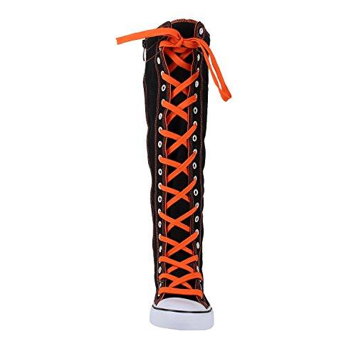 West Blvd Womens Sneaker Kniehohe Schnürstiefel Schwarz-Orange