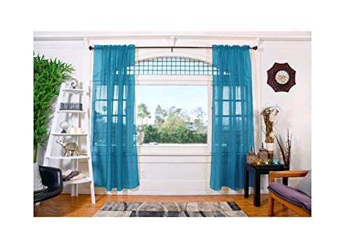 All American Collection Doli Sheer Curtains Two 54 x 84 Panels (Turquoise)