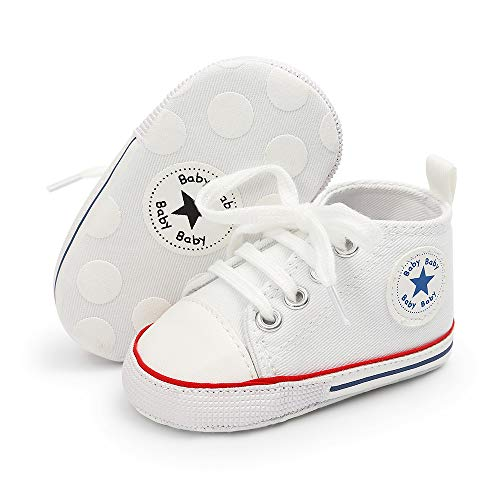 Save Beautiful Baby Girls Boys Canvas Sneakers Soft Sole High-Top Ankle Infant First Walkers Crib Shoes (0-6 Months Infant, ()