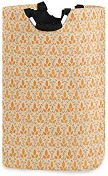 GEEVOSUN ランドリーバスケット,オレンジベージュの紅葉プリント ランドリーバッグ 洗濯かご おりたたみ 洗濯カゴ おしゃれ 収納ボックス おもちゃ収納