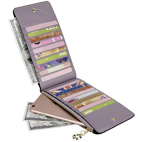 YALUXE Leather Wallet for Women Women's RFID Blocking Genuine Leather Multi Card Organizer Wallet with Zipper Pocket RFID Blocking Lavender