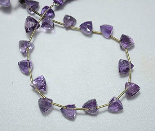 (GemAbyss Beads Gemstone 8mm Beads, Amethyst Gemstone Beads, Pyramid Shape Faceted Beads, Amethyst Trillion Cut Briolette Beads, 8 Inches Strand Code-MVG-31558)