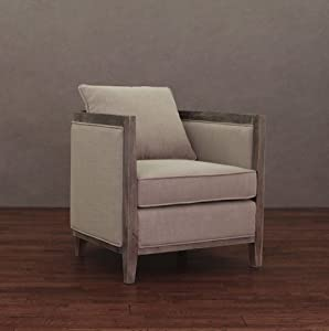 elliot beige linen modern lounge armchair reading chair with wood frame living room furniture or bedroom chair - Wood Frame Armchair
