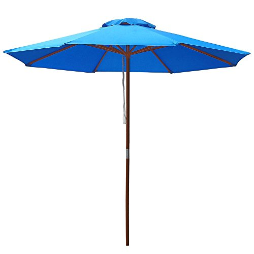 - Yescom 9ft Wooden Outdoor Patio Blue Umbrella W/Pulley Market Garden Yard Beach Deck Cafe Sunshade