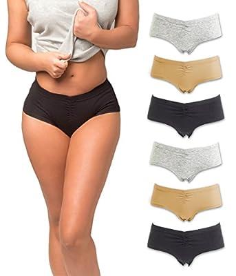 Cotton Underwear Women, 6 Seamless Womens Boy Shorts Lace Panties Slip Shorts