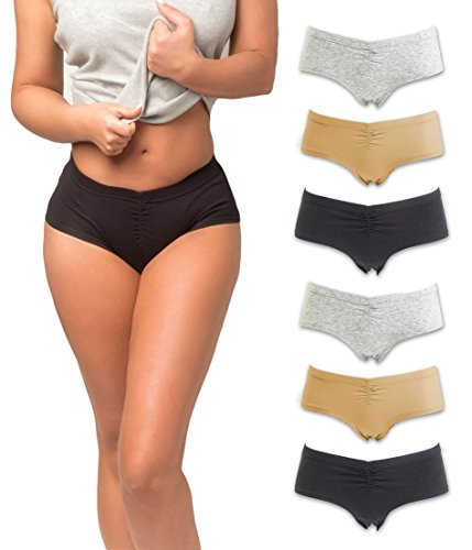 Emprella Boy Shorts Underwear for Women, Cotton Ladies Panties, Womens 6 Pack Boyshorts ()