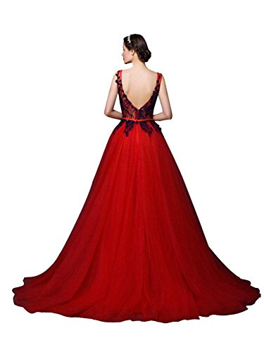 Beauty Damen Hochzeits Dunkel Tüll Elegant Spitze Spitze Emily Abendkleider Für Lang Kleider Blau Rot rqrTZ
