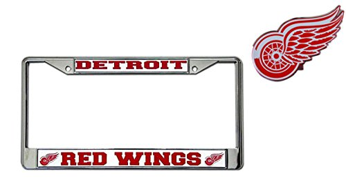 - Official National Hockey League Fan Shop Licensed NHL Shop Authentic Chrome License Plate Frame and Chrome Colored Auto Emblem (Detroit Red Wings)
