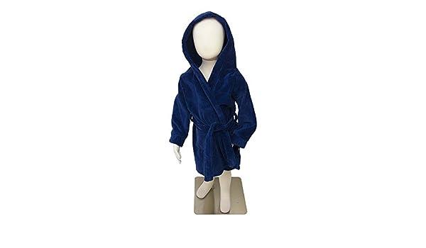 Navy Blue Velour Robe with hood, Frenchie Mini Couture (12-14) by Frenchie Mini Couture: Amazon.es: Bebé