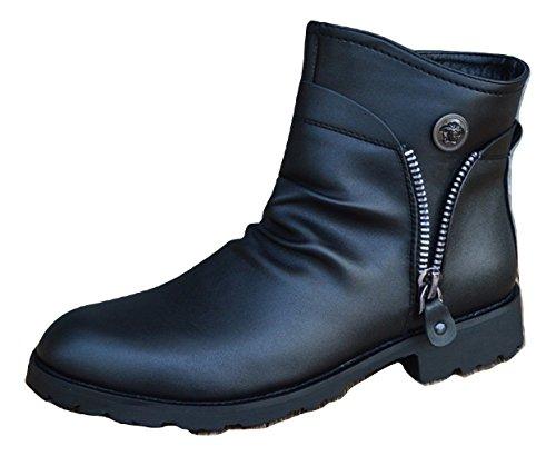浸透する厳密に質素なR.Y.A.R メンズ ビジネスブーツ ビジネスシューズ 紳士靴 ファスナー付き リーガル 革靴 通勤 靴 防水 脚長 ローファー 黒 ブラック