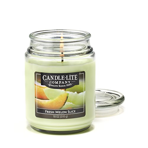 Melon Scented Jar Candle - Candle-Lite Everyday Scented Fresh Melon Slice Single Wick 18oz Large Glass Jar Candle, Fruit Citrus Fragrance