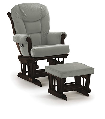 Lennox Multiposition-Lock Glider Chair and Ottoman Combo, Espresso with Grey