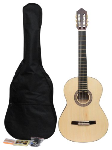 ADM JC113-NR 39'' Full Size Entry Level Classical Guitar Package, Natural Matte by ADM