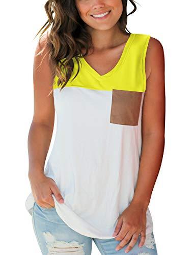 SAMPEEL Womens Yellow Tank Tops Summer V Neck Pocket Sleeveless Dressy Clothes Workout L]()
