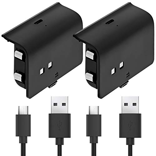 Fosmon Xbox One Controller 1000mAh Play and Charge Rechargeable Battery Pack (2 Pack) with 10FT Micro USB Charging Cable for Xbox One S/X/Elite Controller, Also Works with Fosmon Dock C-10659/C-10709