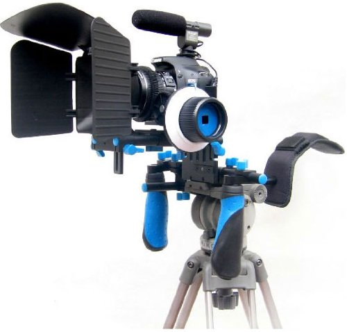 Pro Steady Cinema Kit Support System with Shoulder Mount and Follow Focus System and a Matte Box Shading Card for All DSLR Cameras & Video Camcorders D.B.R.