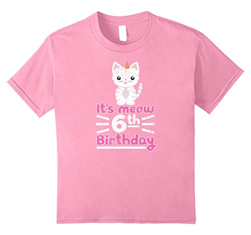 Kids Cute Kitten Kitty Cat 6th Birthday Girl Shirt Kid 6 Years 8 Pink