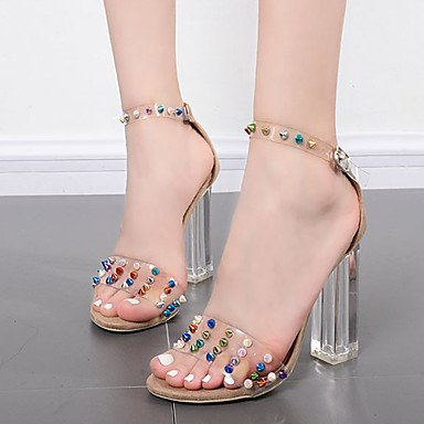 US7 UK5 Dress 5 Almond Chunky Women'S Shoe Sandals Black Summer Transparent 5 RTRY CN38 Heel EU38 Rubber Rivet Z7pq4wA