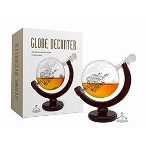 Whiskey Decanter Set World Etched Globe Decanter Antique Ship Glass Stopper Pour Funnel Liquor Dispenser Spirits Scotch Bourbon Vodka Rum Wine Tequila Brandy Perfect Gift 850 ml