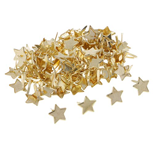 SM SunniMix 100 Piece Gold Star Head Split Pins Metal Brads Paper Fastener Decorative Brad for Scrapbooking DIY Craft Decoration
