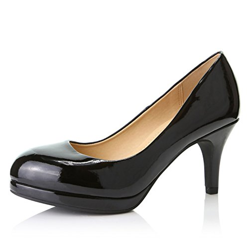 Patent Heel Leather Low - DailyShoes Women's Classic Ankle Strap Platform Low Heels Round Toe Party Dress Pumps Shoes, Black Patent Leather, 10 B(M) US